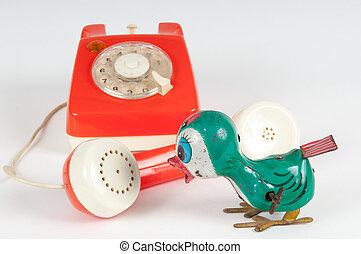 retro, orange, telefon, mit, drehende wählscheibe, weiß