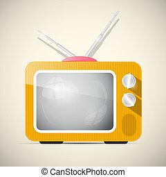 Retro Orange Vector Television, TV Illustration