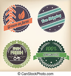 Retro organic badge set