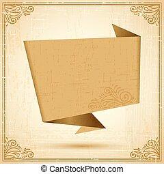 Retro origami speech bubble vector background. Eps 10.