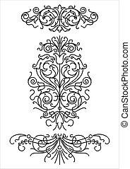 retro, ornamentos, (vector)