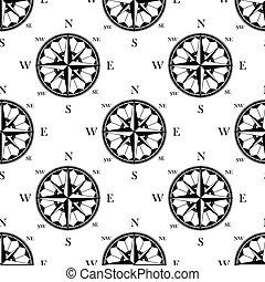 Retro ornate compass roses seamless pattern