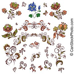 Retro ornate design with flowers