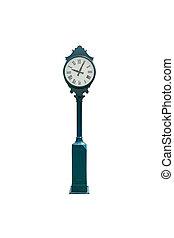 retro, orologio, isolato, bianco, con, percorso tagliente