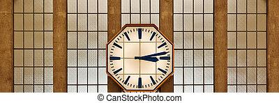 retro, orologio, su, parete, di, il, stazione ferroviaria