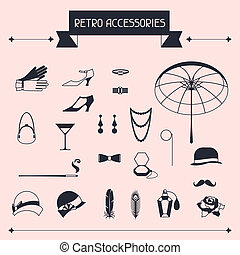 retro, osobisty, przybory, ikony, i, obiekty, od, 1920s,...