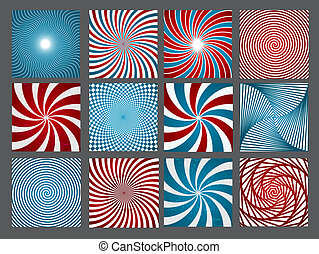 retro, ouderwetse , hypnotic, achtergrond, set., vector, illustratie