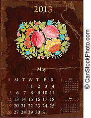 retro, ouderwetse , kalender, voor, 2013, mei