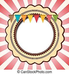 retro, -, ouderwetse , rode ster, vorm, achtergrond, met, vlaggen, en, gele, cirkel, afgerond, ornament