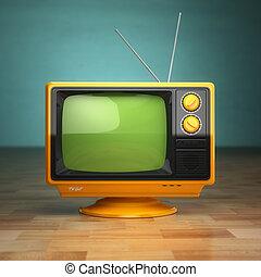 retro, ouderwetse , tv, op, groene, achtergrond., televisie, concept.
