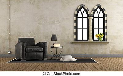Leder, levend, sofa, kamer, ouderwetse . Woonkamer, planken ...