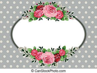 Retro oval roses vintage