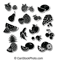 retro, owoc, komplet