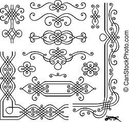 retro, página, decoración