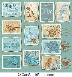 retro, pájaro, sellos, -, para, diseño, invitación, felicitación, álbum de recortes