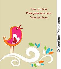 retro, páscoa, cartão, com, um, pássaro