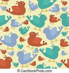 retro, pássaros, fundo, seamless