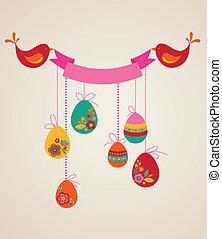 retro, påsk eggar