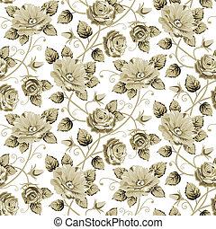 retro, padrão floral