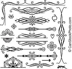 retro, pagina, versiering