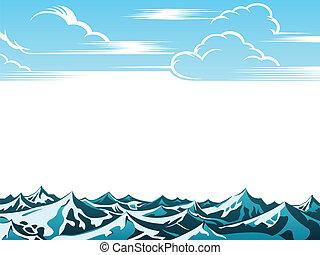 retro, paisaje, océano
