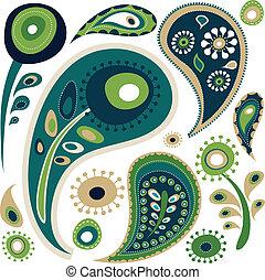 retro, paisley, mønster