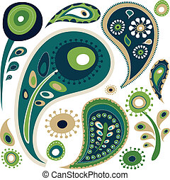Retro paisley pattern - Retro green and blue paisley pattern