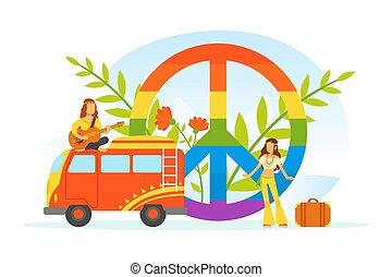 retro, paix, caractères, hippie, classique, symbole, fourgon, vêtements, illustration, arc-en-ciel, gens, vecteur, voyager, 70s, porter, heureux, vieux, 60s
