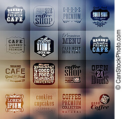 retro, panadería, etiquetas, y, tipografía