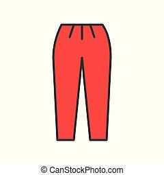 retro pants, filled color outline editable stroke