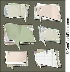 retro, papel, bolhas, fala