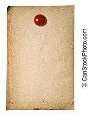 retro, papel, con, rojo, clip