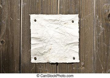 retro, papel, en, pared de madera