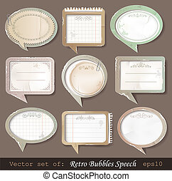Retro paper bubbles speech - Vector illustration of retro ...
