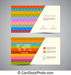 Retro Paper Business Card Template with Colorful Triangles
