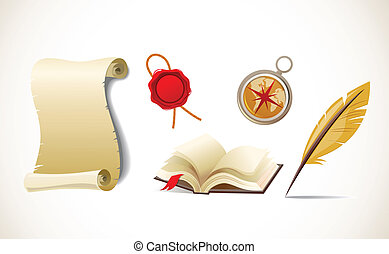 Retro paper, feather, compass and book - vector icon set