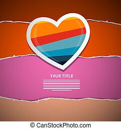 Retro Paper Heart on Torn Paper Background, Valentine Theme