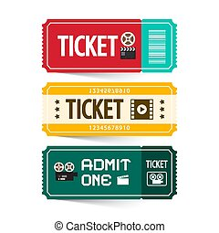 Retro Paper Tickets Set Isolated on White Background. Admit One Ticket.