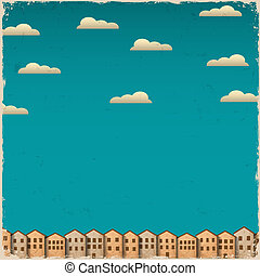 Retro paper town on grunge background