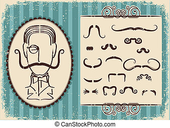 retro, papier, vieux, fond, portrait, homme, mustaches.
