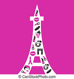 Retro Paris Eiffel Tower silhouette with icons isolated on pink