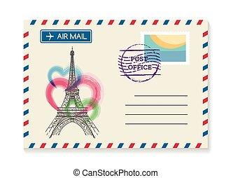 Retro Paris postal invitation