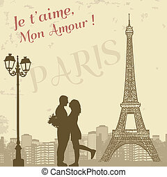 Retro Paris grunge poster with lovers and city scape, vector illustration