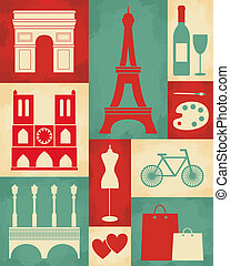 Retro Paris Poster - Retro style poster with Paris symbols...