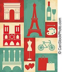 Retro style poster with Paris symbols and landmarks.