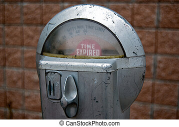 retro parking meter - Expired sign on a retro parking meter.