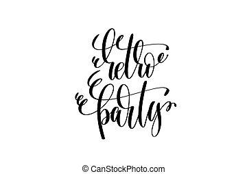 retro, partido, mão, lettering, evento, convite, inscrição