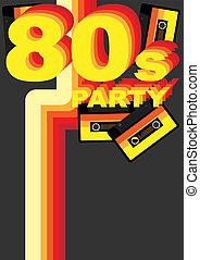 Retro Party Background - 80s Sign and Audio Tape on Dark...