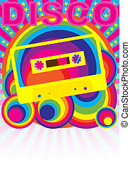 Retro Party Background - Audio Casette Tape and Disco Sign ...
