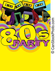 Retro Party Background - Audio Casette Tapes and Vinyl Records